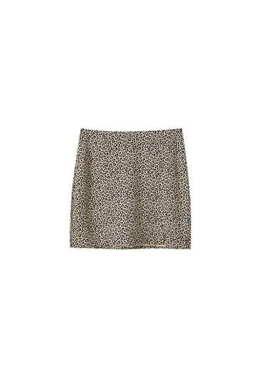 Animal print mini skirt with slits