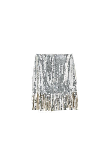 Sequinned skirt with fringe