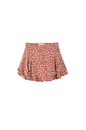 Printed skort with ruffles