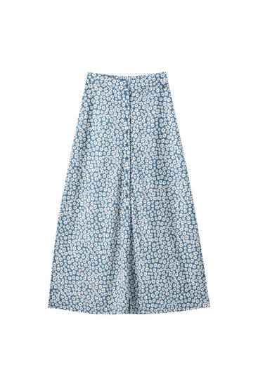 Printed midi skirt with front buttons