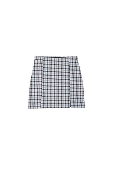 Mini skirt with check print