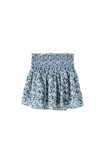 Mini skirt with a double ruffle trim