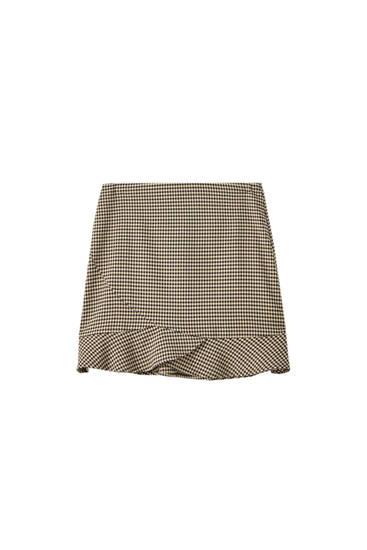 Мини-юбка с воланом по низу