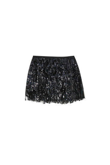 Sequinned skort with fringing