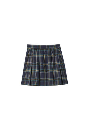 Checked box pleat skirt