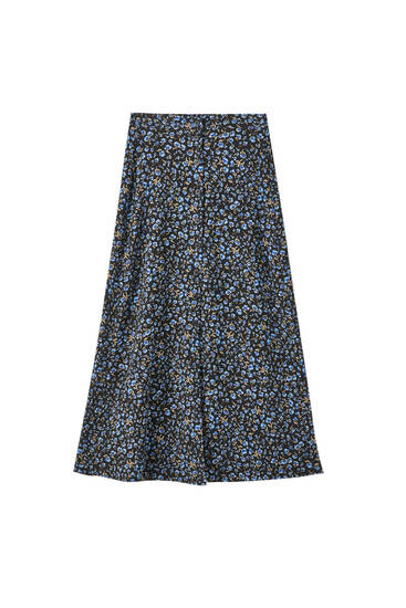Printed midi skirt with button detail