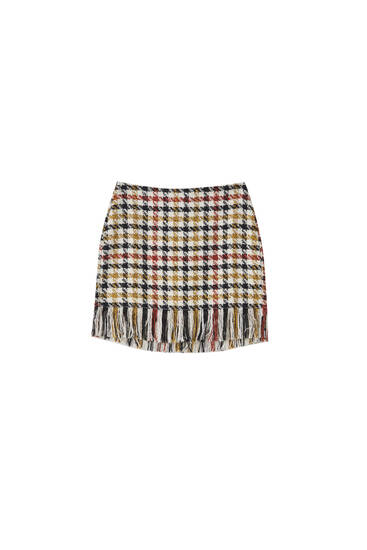 Check skirt with fringing