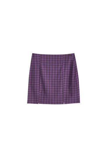 Lilac check skirt with slits
