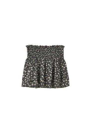 Мини-юбка с принтом и сборкой