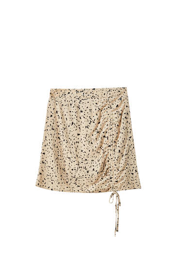 Printed shirred mini skirt