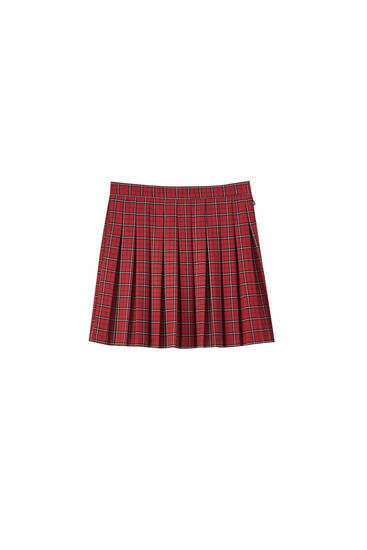 Pleated red check mini skirt