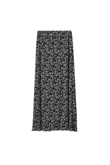 Print midi skirt with slit detail