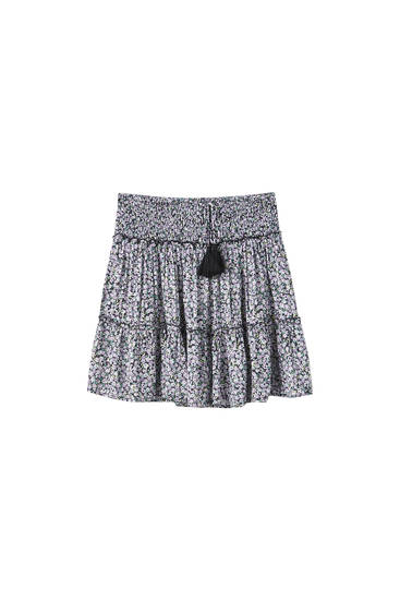 Flowing crepe mini skirt