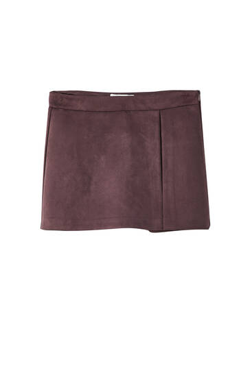Faux suede skort with slit