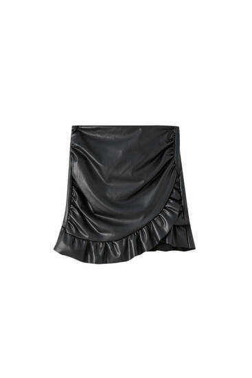 Ruffled faux leather wrap skirt