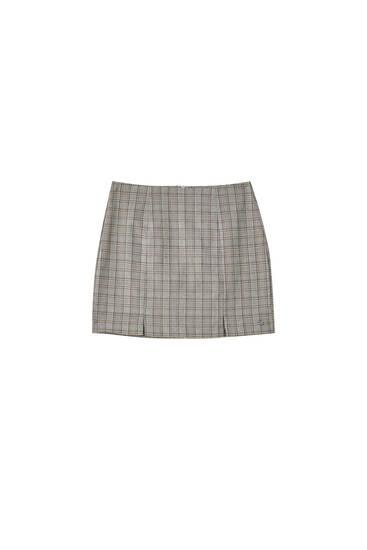 Check mini skirt with slits