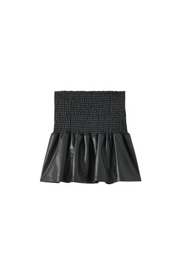 Faux leather shirred mini skirt