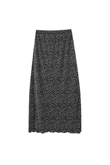 Pleated print midi skirt