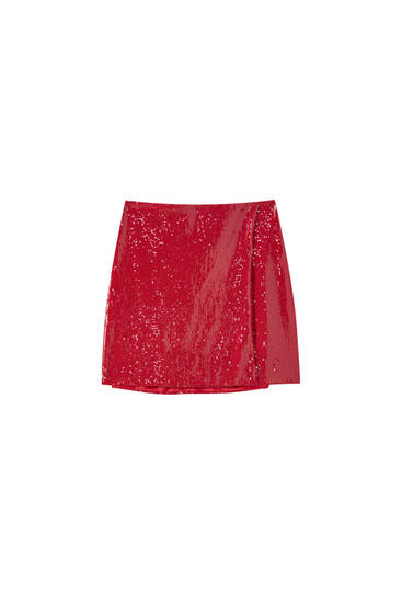 Red sequin mini skirt