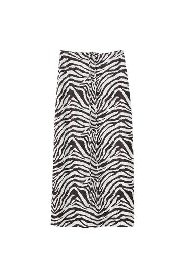 Zebra print skirt with tie detail