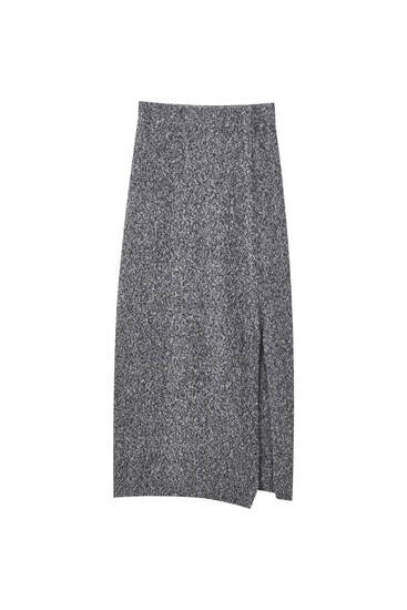 Grey twisted knit skirt