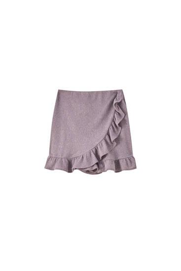 Lesklá kalhotová sukně