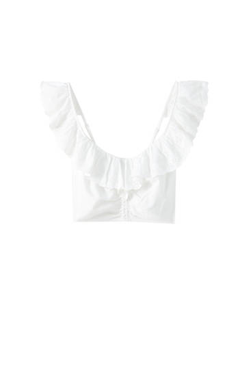 Top cropped volante puntilla