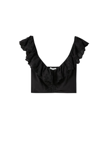 Cropped-Top mit Spitzen-Volant
