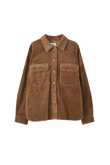 Corduroy shirt with flap pockets