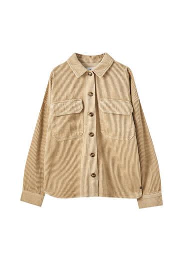 Velveta krekls ar pārloka kabatām