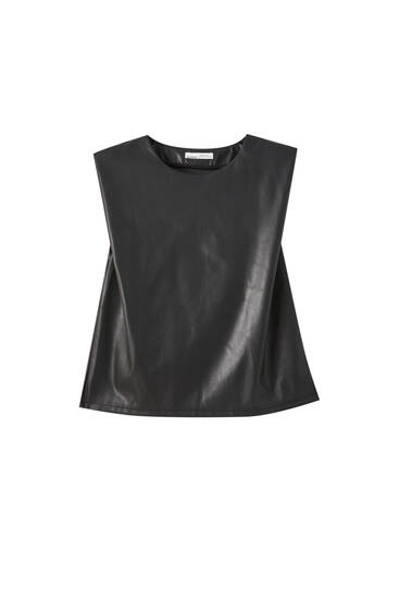 Faux leather top with shoulder pads