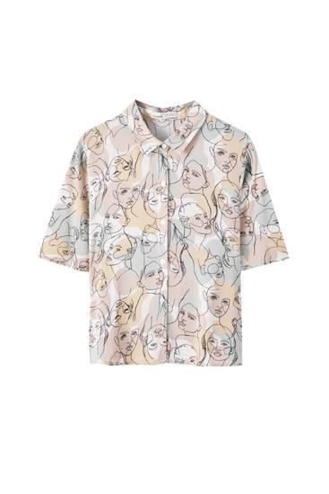 Рубашка с принтом и рукавами-воланами