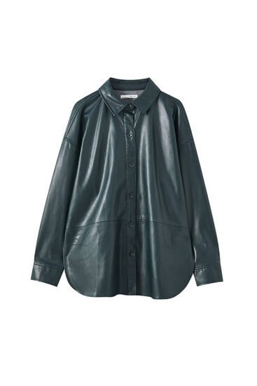 Panelled faux leather overshirt