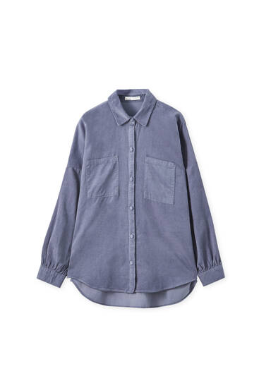Needlecord shirt with patch pockets