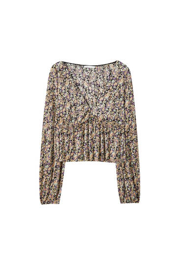 Camisa estampada tejido plisado