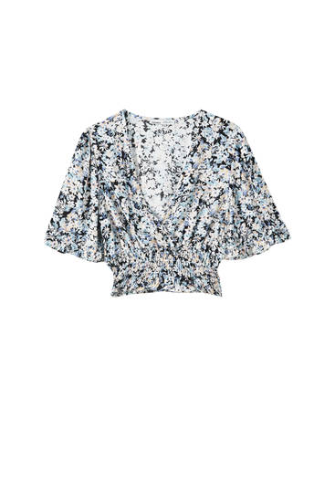 Blue floral blouse with shirring