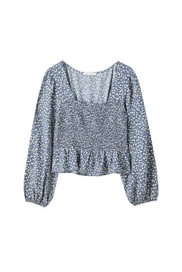 Printed blue blouse with shirring