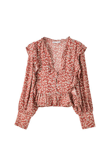 Printed blouse with ruffle detail
