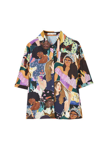 Multicoloured girls print shirt