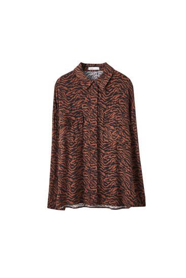 Рубашка оверсайз с леопардовым принтом