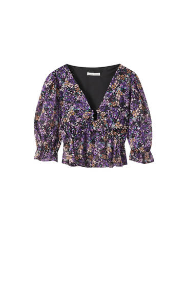 Printed blouse with neckline detail