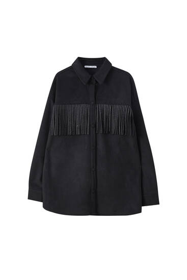 Faux suede overshirt with studded fringing