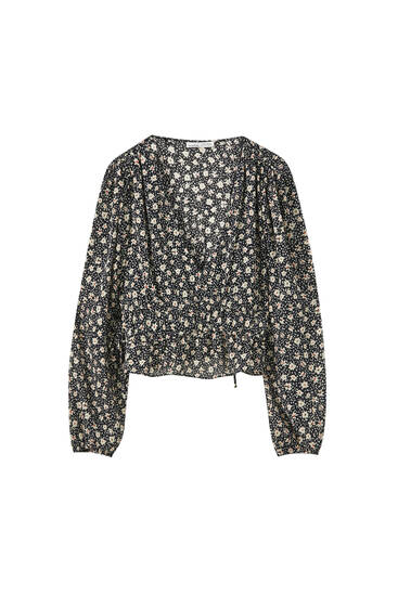 Printed blouse with elastic waist