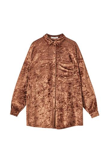 Velvet shirt with front pocket