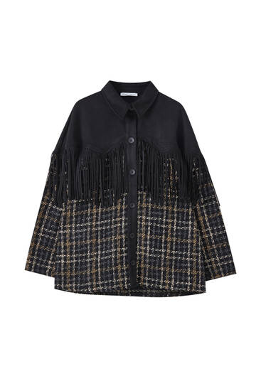 Contrast overshirt with black frining