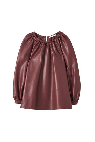 Faux leather top with pleats