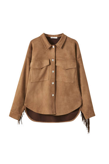 Brown faux suede overshirt with fringing