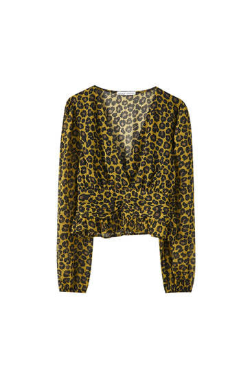 Draped leopard print blouse