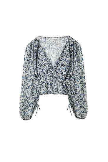 Printed shirred shirt with ruffle