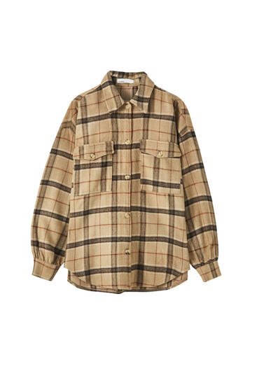 Check overshirt with flap pockets